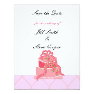 """Reserva rosada del pastel de bodas de la cinta la invitación 4.25"""" x 5.5"""""""