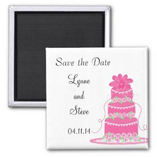 Reserva rosada del pastel de bodas la fecha imán cuadrado