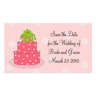 Reserva rosada del pastel de bodas la fecha tarjetas de visita