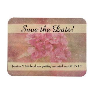 Reserva rosada del ramo de la flor la fecha imanes de vinilo