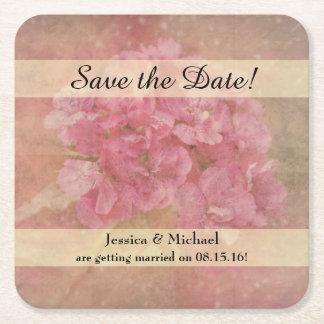 Reserva rosada del ramo de la flor la fecha posavasos de cartón cuadrado