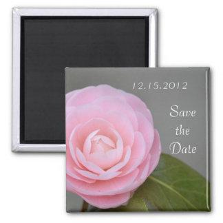 Reserva rosada del rosa de la primavera la fecha imán cuadrado