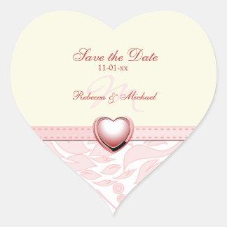 Reserva rosada elegante del monograma la fecha pegatina en forma de corazón