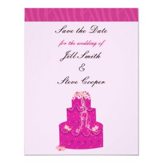 """Reserva rosada elegante del pastel de bodas la invitación 4.25"""" x 5.5"""""""