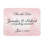 Reserva rosada floral del boda del vintage la imanes de vinilo