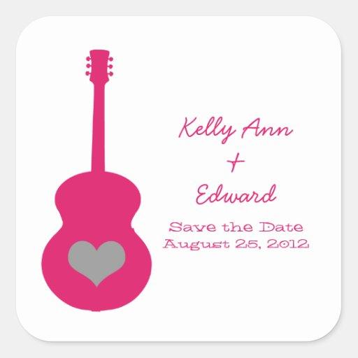 Reserva rosada/gris del corazón de la guitarra los calcomanías cuadradas personalizadas