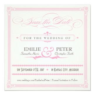 Reserva rosada, gris y poner crema del estilo del invitación 13,3 cm x 13,3cm