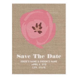 Reserva rosada inspirada arpillera del boda del tu postales