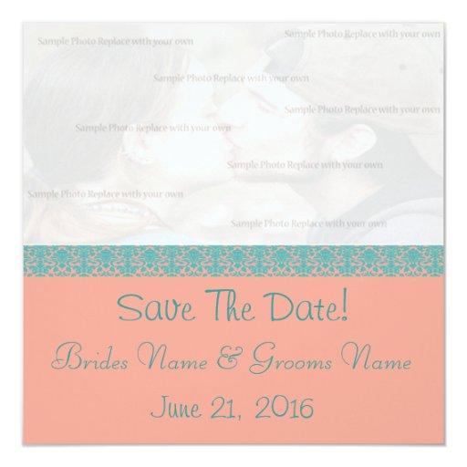 Reserva rosada y azul del damasco la fecha invitación 13,3 cm x 13,3cm