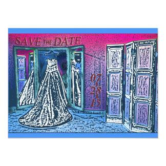 Reserva rosada y azul del vestido de boda que la invitación