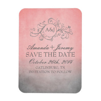 Reserva rosada y gris rústica del bohemio la fecha imán rectangular