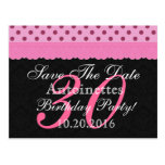 Reserva rosada y negra del cordón el cumpleaños tarjeta postal