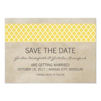 Reserva rústica amarilla de Quatrefoil que la Invitación 12,7 X 17,8 Cm