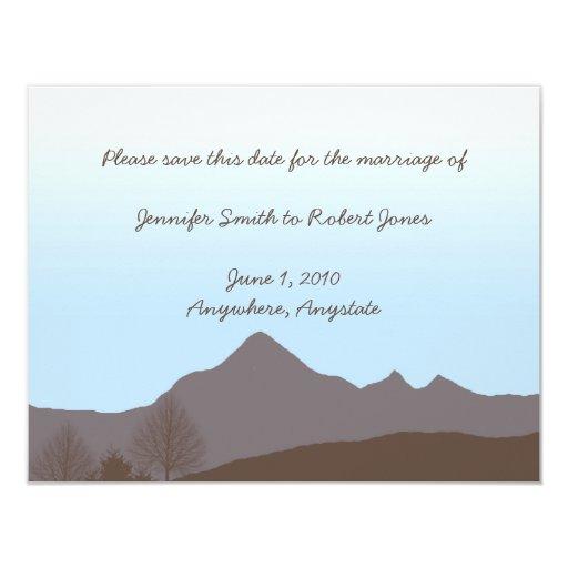 Reserva rústica de la acuarela de la montaña la invitación 10,8 x 13,9 cm