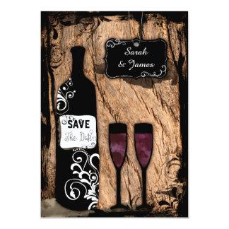 """Reserva rústica de la botella de vino del invitación 5"""" x 7"""""""