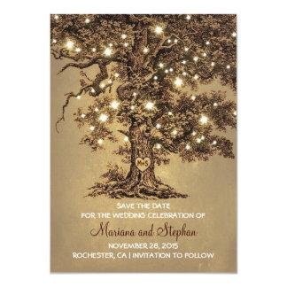 Reserva rústica de las luces del árbol del vintage invitación 11,4 x 15,8 cm