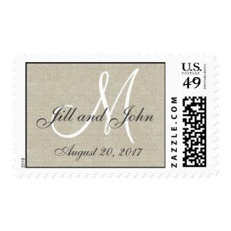 Reserva rústica de lino la fecha sello