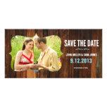 Reserva rústica de madera la fecha plantilla para tarjeta de foto