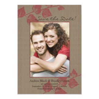 Reserva rústica del boda de la foto de las hojas comunicados personales