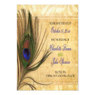 Reserva rústica del boda de la pluma del pavo real invitaciones magnéticas