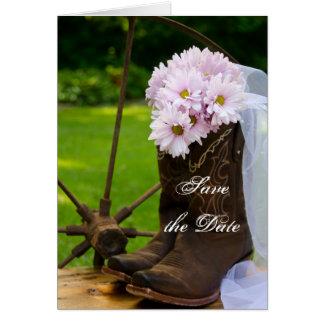 Reserva rústica del boda del país de las margarita tarjetas