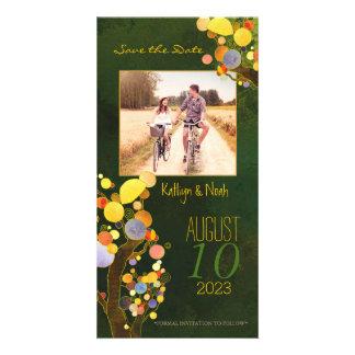 Reserva rústica del boda del país del arte del tarjeta personal con foto