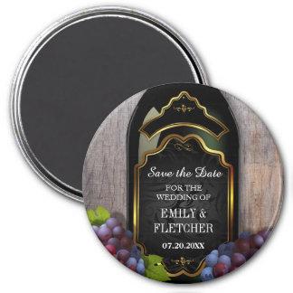 Reserva rústica del lagar del viñedo el boda de la imán redondo 7 cm