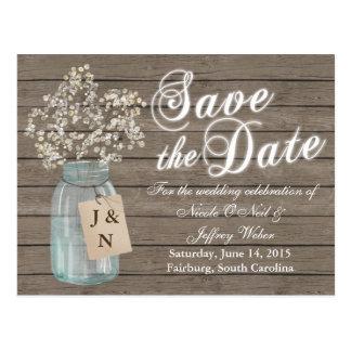 Reserva rústica del país la invitación de boda de postales
