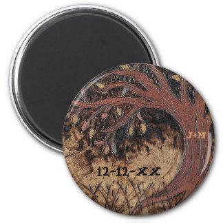 Reserva rústica del pirograbado del árbol el favor imanes de nevera
