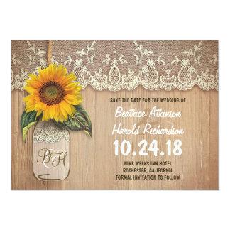 reserva rústica del tarro de albañil del girasol invitación 11,4 x 15,8 cm