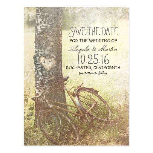 reserva rústica del vintage del árbol de amor la tarjetas postales