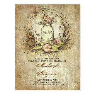 Reserva rústica del vintage del tarro de albañil postales
