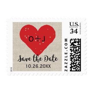 Reserva rústica el corazón encantador del vintage timbre postal