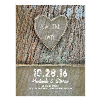 Reserva rústica tallada del árbol del corazón las postales