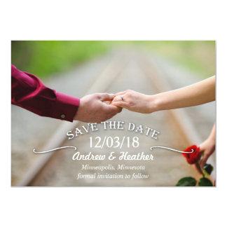 """Reserva simple del boda del remolino la fecha invitación 5"""" x 7"""""""