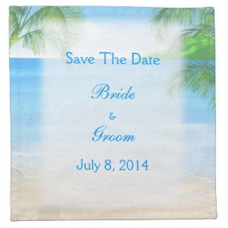 Reserva soñadora del boda de playa la fecha servilletas de papel