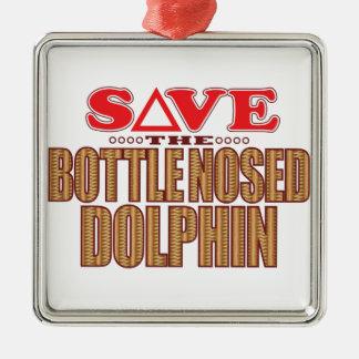 Reserva sospechada botella del delfín adorno navideño cuadrado de metal
