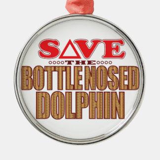 Reserva sospechada botella del delfín adorno navideño redondo de metal