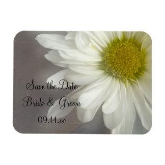 Reserva suave del boda de la margarita blanca el imán foto rectangular
