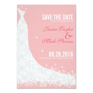 """Reserva suavemente rosada y blanca del vestido de invitación 3.5"""" x 5"""""""