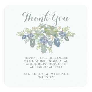 Reserva suculenta de la foto del boda del ramo la invitación 13,3 cm x 13,3cm