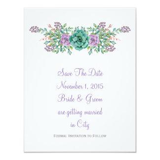 """Reserva suculenta floral del boda de la acuarela invitación 4.25"""" x 5.5"""""""