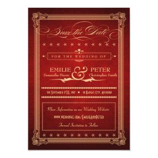 Reserva suntuosa del rojo del poster del vintage invitación 12,7 x 17,8 cm