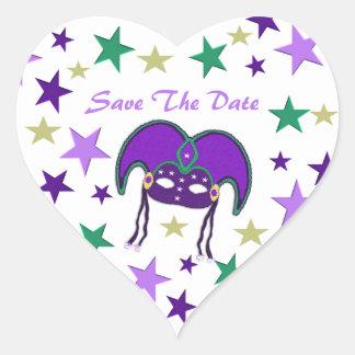 Reserva temática de Mardi Gra los pegatinas de la Pegatina En Forma De Corazón