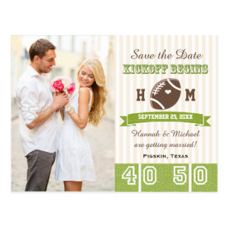 Reserva temática del boda del fútbol la fecha tarjetas postales