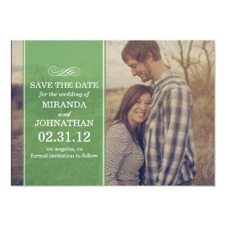 """Reserva transparente verde de la foto que la fecha invitación 5"""" x 7"""""""