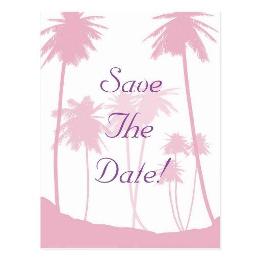Reserva tropical del boda de las palmeras rosadas tarjeta postal