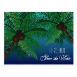 Reserva tropical del boda de playa de la palmera l postal