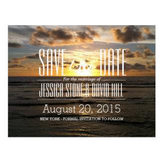Reserva tropical del boda de playa de la puesta postales