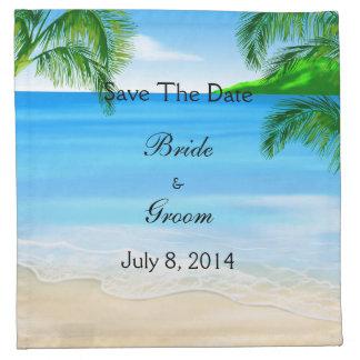 Reserva tropical del boda de playa de las aguas la servilletas de papel
